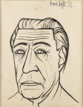 Bernard BUFFET - Dessin-Aquarelle - Portrait of Doumel (Marseille Songwriter)