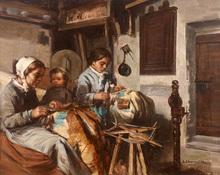 Léon Augustin LHERMITTE (1844-1925) - Dentellières, intérieur