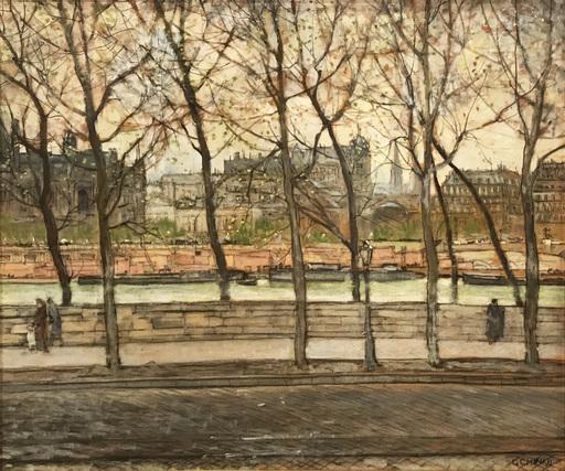 Galileo CHINI - Peinture - La Senna dalla terrazza alle Tuileries