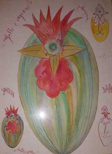 Luigi ONTANI - Drawing-Watercolor - ingallo o inganno