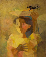 Romeo TABUENA - Painting - Mujer con frutero (Woman with fruit bowl)