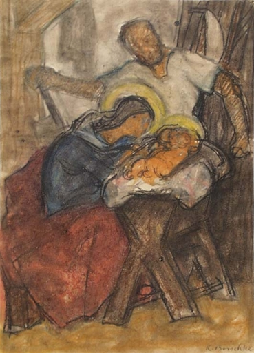 "Karl BORSCHKE - Zeichnung Aquarell - Karl Borschke , ""Holy Family"", 1920's"