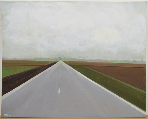 Vivi HERREBOUDT - Painting - The road to the village    (Cat N° 5595)