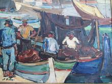 Pierre DE BELAY - Painting - scène animée devant le port