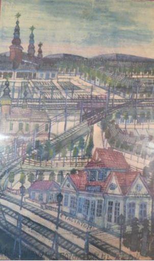 NIKIFOR - Drawing-Watercolor - Tarnow station