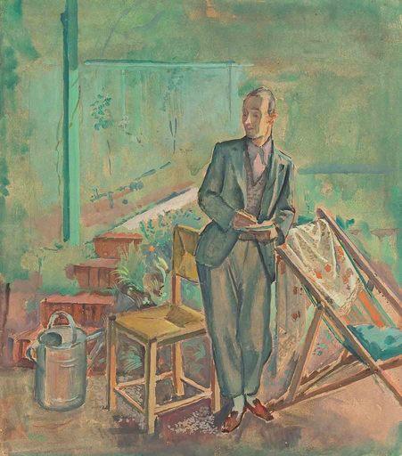 Alfred HAGEL - 水彩作品 - Mann im Garten