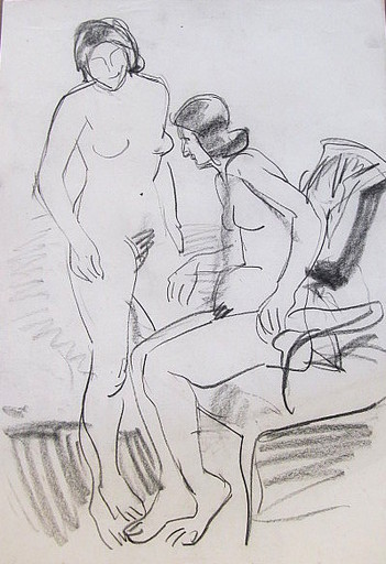 Erich HARTMANN - Drawing-Watercolor - Akt: 2 nackte Frauen.