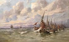 Henri ARDEN - Painting - Le départ des pêcheurs