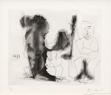 Pablo PICASSO (1881-1973) - Vieux peintre avec modèle barbu et une spectatrice