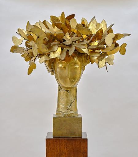 Manolo VALDÉS - Sculpture-Volume - Cabeza con mariposas (dorada)