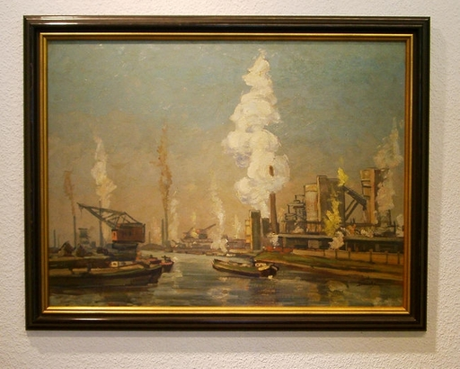 Josef DEDERICHS - Painting - Rhein-Herne-Kanal Nordstern