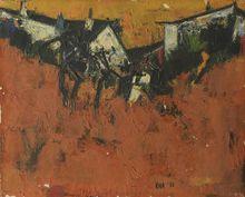 Sayed Haider RAZA - Pintura - Paysage aux maisons, 1956