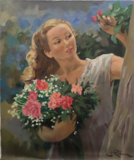 Marc REBIERRE - Painting - Woman with Flowers
