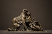 Patrick VILLAS - Sculpture-Volume - Couple de tigres jouant