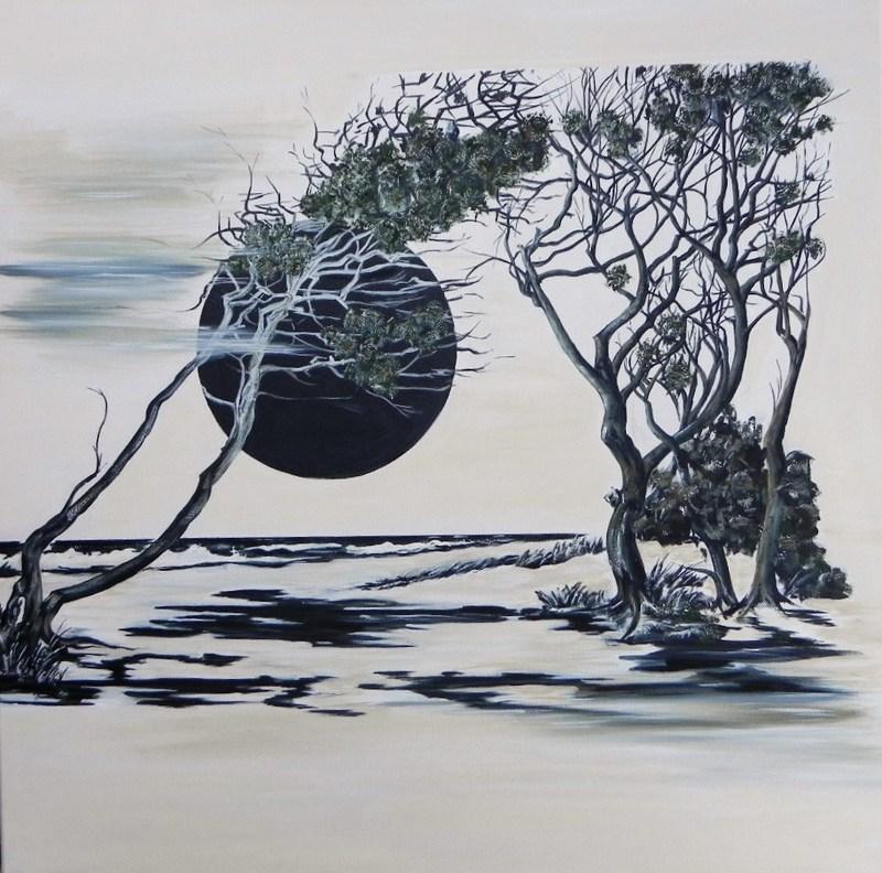 Gerd ZIMMERMANN - Gemälde - Dunkle Sonne weißer Strand 2014 Öl auf Acrl