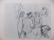 Jean SOUVERBIE - Drawing-Watercolor - AU MARCHE