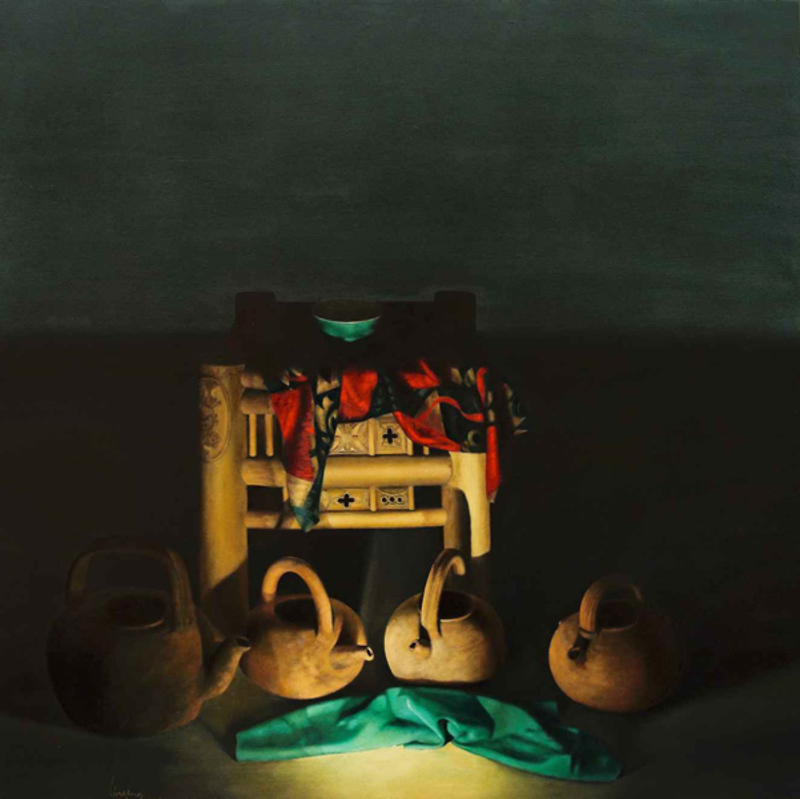 LE VUONG - Painting - Earthenware Pots And Green Scarf