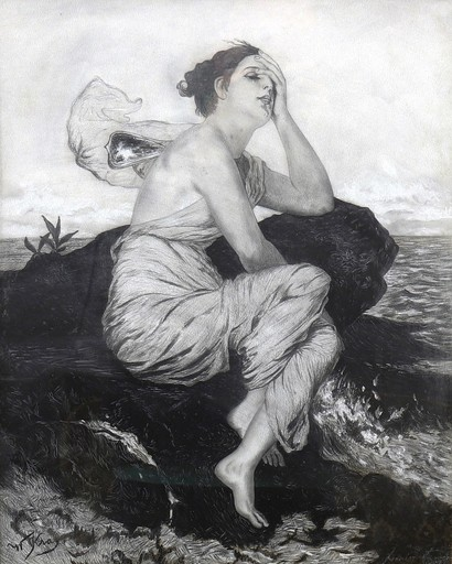 Wilhelm KRAY - Dibujo Acuarela - Psyche in mourning - A nymph by the sea