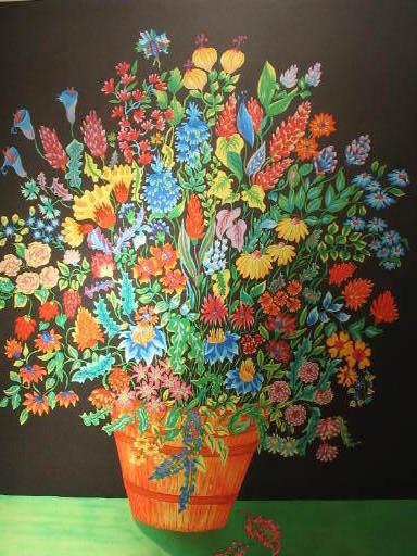 Michel LOEB - Stampa-Multiplo - Bouquet multicolore,1989.