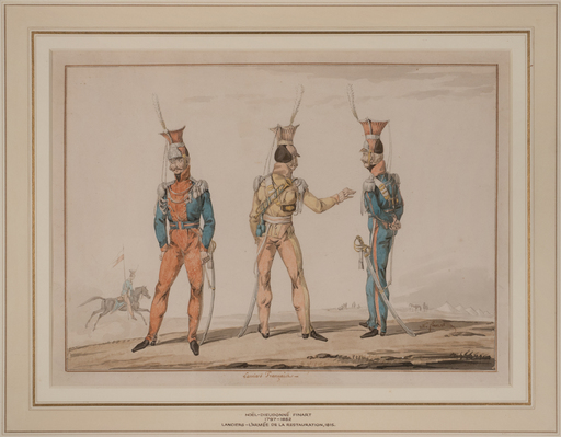 Noël-Dieudonné FINART - Disegno Acquarello - Uniforms of the French Lancers, epoque Restoration