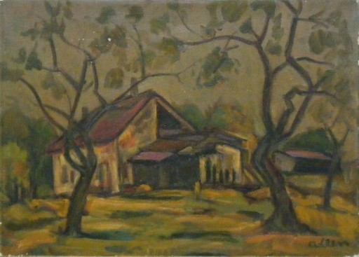 Michel ADLEN - Painting - House in Landscape