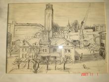 Victor SURBEK - Dibujo Acuarela - centre ville