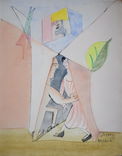 Léopold SURVAGE - Drawing-Watercolor - Couple, Bird and Leaf