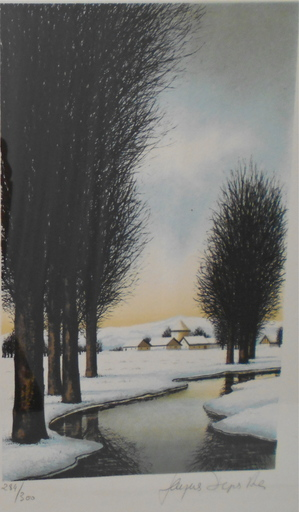Jacques DEPERTHES - Estampe-Multiple - Paysage d'hiver /  Winter landscape
