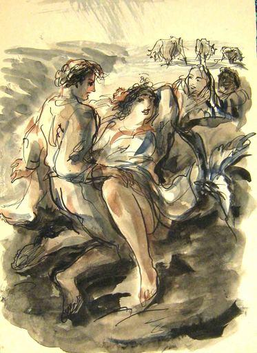 "Antoni UNIECHOWSKI - Drawing-Watercolor - ""Scène de campagne"""