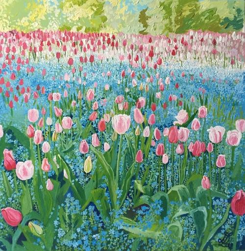 Delphine LACROIX - Peinture - Tulipes et Mysotis dans le Jardin de Monet