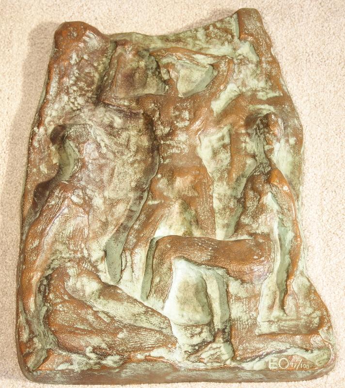 Ernst OLDENBURG - Sculpture-Volume - Relief mit drei Personen