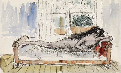 Paul DELVAUX - Drawing-Watercolor - Nu Couché