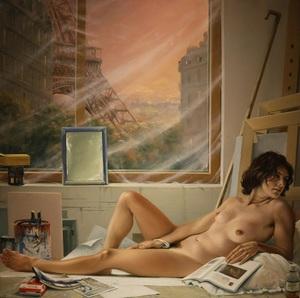 Bruno SCHMELTZ - Painting - Nu dans l'atelier