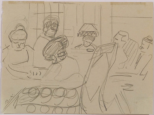 Broncia KOLLER-PINELL - Drawing-Watercolor - Cafe Scene, early 20th Century