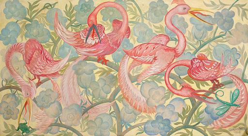 Herbert GURSCHNER - Pintura - Flamingos