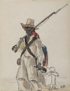 Camille PISSARRO - Drawing-Watercolor - Vénézuélien au fusil