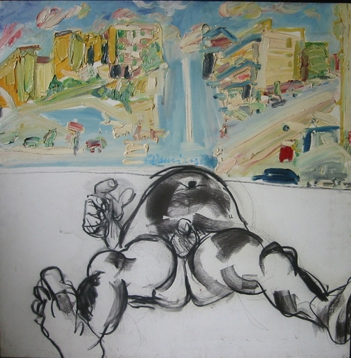 Bernard DAMIANO - Peinture - Homme nu dans un paysage