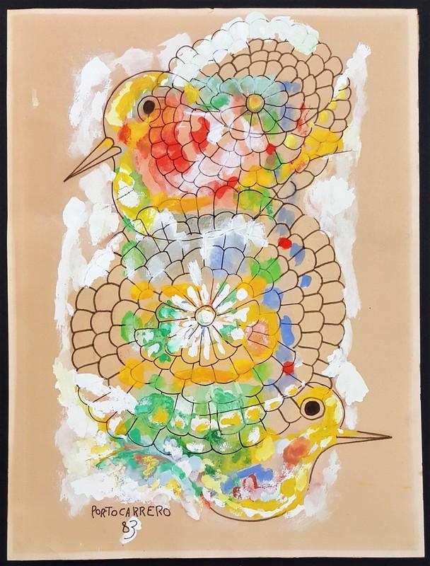 René PORTOCARRERO - Peinture - Colibries