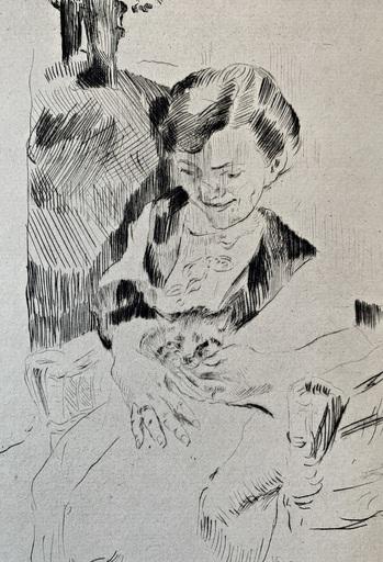 洛维斯·科林斯 - 版画 - Frau mit Kätzchen