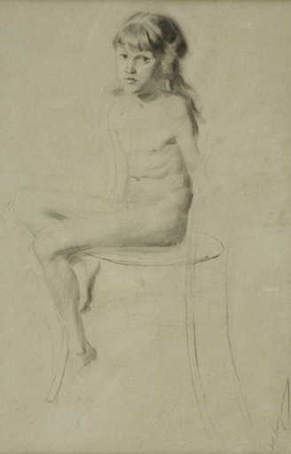 Isidor KAUFMANN - Drawing-Watercolor - The Nude Girl