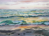 "Galina VINDALOVSKAIA - Dibujo Acuarela - ""Sunset Sea Beach"" realistic seascape"