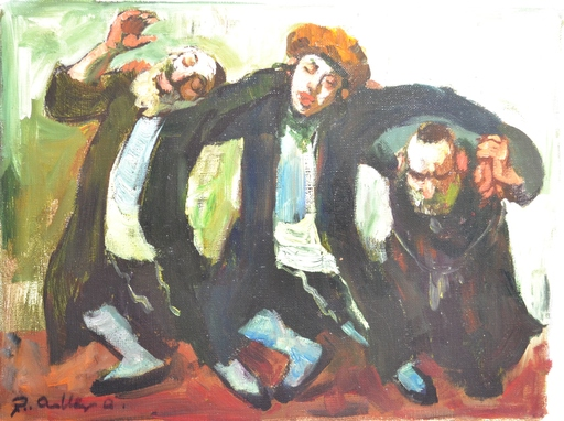 Adolf ADLER - Painting - *Chassidic Dancers