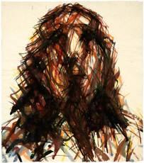 Max UHLIG - Drawing-Watercolor - Frauenkopf frontal