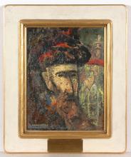 """Israel ABRAMOVSKY - Gemälde - """"Portrait of a Rabbi"""", oil on panel, 1930/40s"""