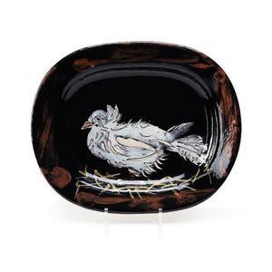Pablo PICASSO - Ceramic - Colombe sur lit de paille