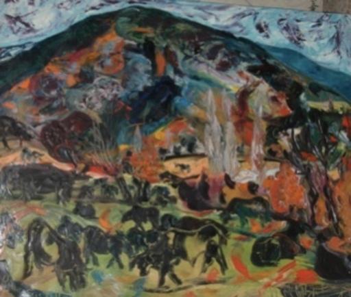 """Luciano DIAZ CASTILLA - Painting - """" toros en el campo"""""""