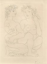 """Pablo PICASSO - Print-Multiple - """"Jeune Couple accroupi. L'homme avec un Tambourin"""""""