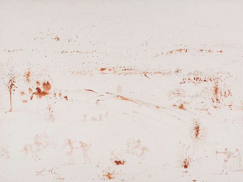 Salvador DALI - Drawing-Watercolor - Vue de Tolède, ange, deux cavaliers et personnages dans un p