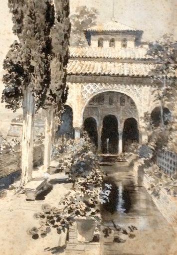 Ulpiano CHECA Y SANZ - Dibujo Acuarela -  Granada - Alhambra - Généralife
