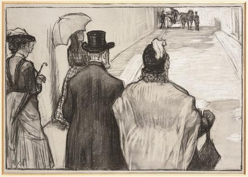 René Xavier François PRINET - Disegno Acquarello - La Promenade